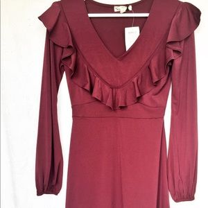 Burgundy dress with ruffle front. Size XS